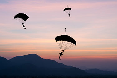 Parachute in the evening